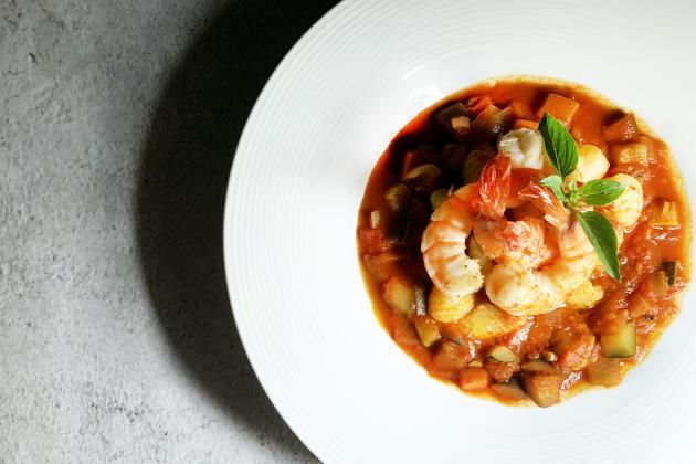 料理鼠王與老虎蝦(尼斯鮮蝦蕃茄燉蔬菜佐法式麵疙瘩) 3